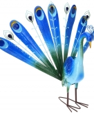 Tuindecoratie metalen pauw blauw 60 cm