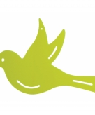 Tuindecoratie vogel voor aan de muur groen 22 cm