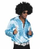 Turquoise rouche overhemd voor heren