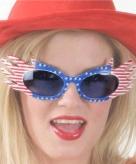 Usa bril met blauwe glazen