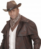 Verkleed bruine cowboy bandana zakdoek 55 x 55 cm