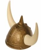 Vikinghelm goud met spijkers en hoorns