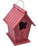 Vintage rood vogelhuisje 24 cm