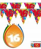 Voordeelset 16 jaar met 2 vlaggenlijnen en ballonnen