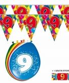 Voordeelset 9 jaar met 2 vlaggenlijnen en ballonnen