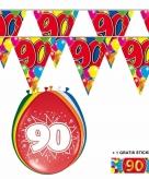 Voordeelset 90 jaar met 2 vlaggenlijnen en ballonnen