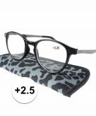 Voordelige grijze panterprint leesbril 2 5