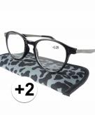 Voordelige grijze panterprint leesbril 2
