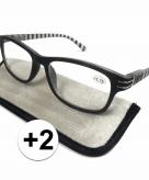 Voordelige leesbril 2 zwart met strepen