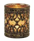Waxinelichthouder goud zwart antiek 10 cm