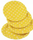 Wegwerpbordjes geel met witte stippen 23 cm