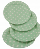 Wegwerpbordjes groen met witte stippen 23 cm