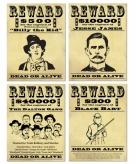 Wilde westen wanted posters 4 x
