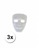 Witte gezichtsmaskers spook 3 stuks
