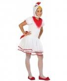 Witte hen kip pok verkleedkleding voor meisjes