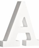 Witte houten letter a 11 cm