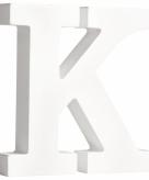 Witte houten letter k 11 cm