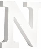 Witte houten letter n 11 cm
