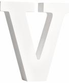 Witte houten letter v 11 cm