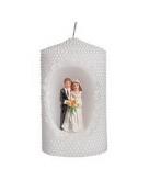 Witte kaars bruidspaar 10 cm