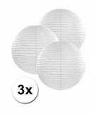 Witte lampionnen 25 cm 3 stuks