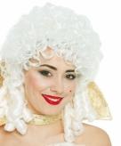 Witte middeleeuwse barok damespruik
