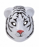 Witte tijger masker gemaakt van plastic 3d 22cm