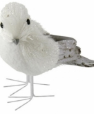 Witte vogel met glitters12 cm type 2