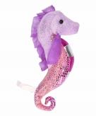 Zeepaard knuffel roze met paars 25 cm