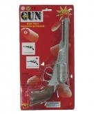 Zilveren cowboy pistool met 8 schoten