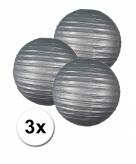 Zilveren lampionnen 25 cm 3 stuks