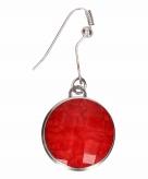 Zilveren metalen oorbellen met rode steen chunk