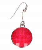 Zilveren metalen oorbellen met roze steen chunk
