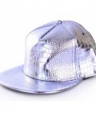 Zilveren rapper cap krokodillenprint