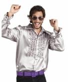Zilveren rouche overhemd voor heren