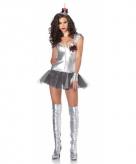 Zilveren tin man kostuum voor dames