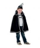 Zwart prins carnaval kinder cape met hoed