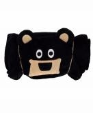 Zwarte beer fleecedeken 100 x 130cm