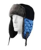Zwarte bontmuts met blauwe oorflappen