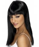 Zwarte damespruik steil haar