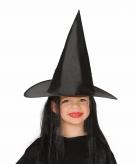 Zwarte heksen kinderhoed met pruik