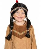 Zwarte indianenpruik met staarten voor kids