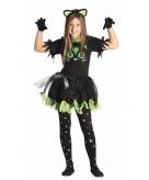 Zwarte kat poes jurkje voor kinderen