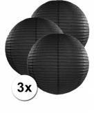 Zwarte lampionnen 50 cm 3 stuks