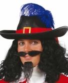 Zwarte musketiers hoed met veer voor heren