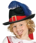 Zwarte musketiers hoed met veer voor kinderen