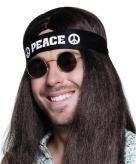 Zwarte peace haarband volwassenen
