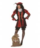 Zwarte pieten kostuum dames rood