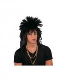 Zwarte punk pruik met spikes