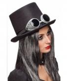Zwarte steampunk hoed met bril